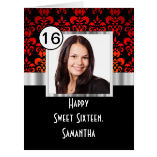 Red damask photo template sweet sixteen card