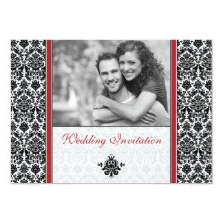 Red Damask Photo Wedding Invitation