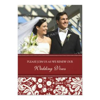 "Red Damask Photo Wedding Vow Renewal Invitations 5"" X 7"" Invitation Card"
