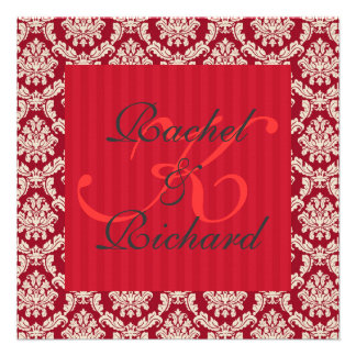 Red Damask Renewal of Vows Anniversary Invitation