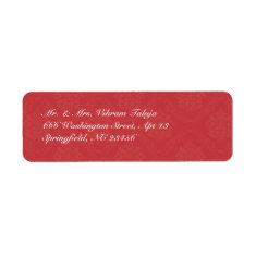 Red Damask Return Address Label