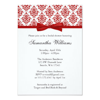 Red Damask Ribbon Bow Bridal Shower Card