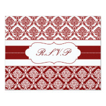 red damask  rsvp card