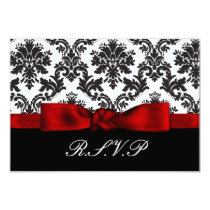 red damask  rsvp cards standard 3.5 x 5