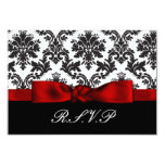red damask  rsvp cards standard 3.5 x 5 announcement