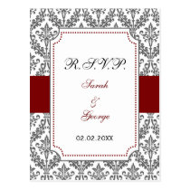 red damask  rsvp postcard