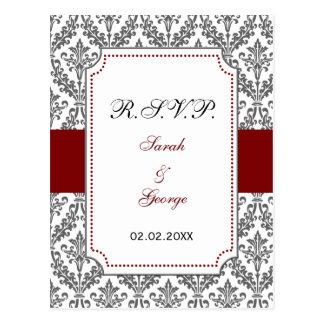 red damask  rsvp postcard