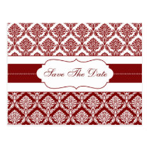 red damask save the date announcement postcard