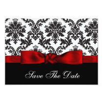 red  damask Save the date Card