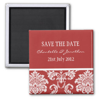 Red Damask Save The Date Magnet