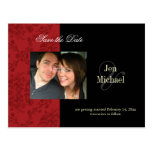 Red Damask Save the Date Photo postcards,