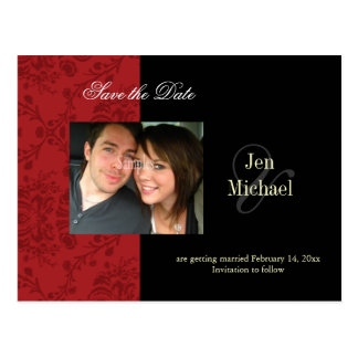 Red Damask Save the Date Photo postcards, Postcard