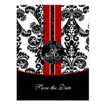 red damask Save the Date Postcard
