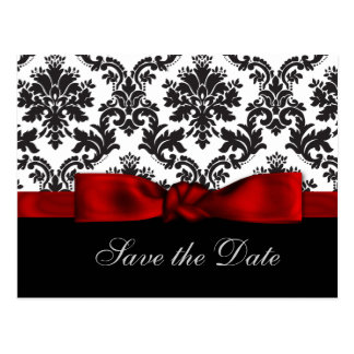 red damask  Save the Date Postcards