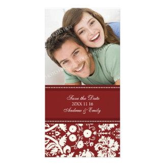 Red Damask Save the Date Wedding Photo Cards