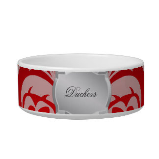 Red Damask Silver Plaque Name Pet Bowl