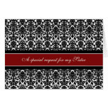 Red Damask Sister Maid of Honor Invitation Greeting Card