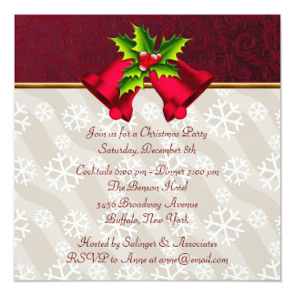 Red Damask Snowflakes Christmas Party Invitations
