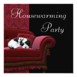 Red Damask Sofa Housewarming Party Invitation