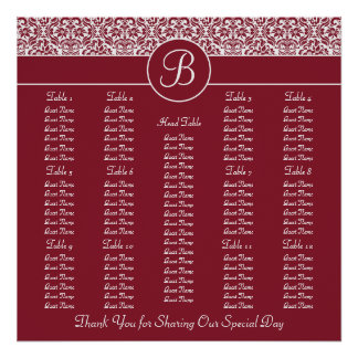 Red Damask Square Wedding Reception Seating Chart Posters