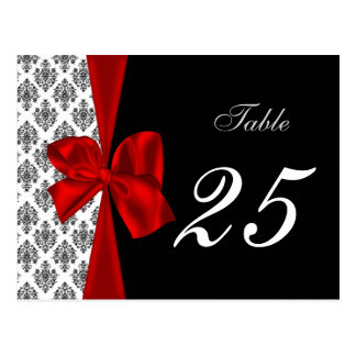 red damask table numbers postcards