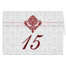 red damask table seating card