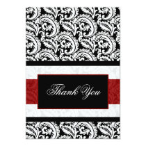 red damask Thank You Card