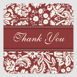Red Damask Thank You Wedding Envelope Seals
