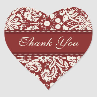Red Damask Thank You Wedding Envelope Seals Heart Sticker