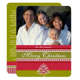 Red Damask Tree Christmas Card