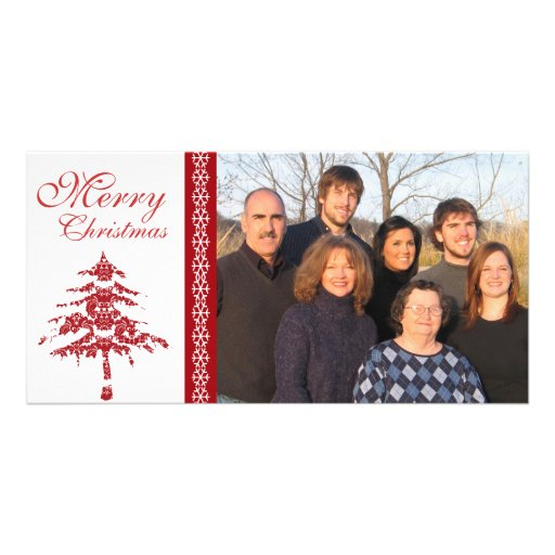 Red Damask Tree & Snowflakes  Merry Christmas Photo Card