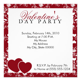 Red Damask Valentines Day Invitation