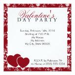 Red Damask Valentines Day Invitation