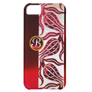 RED DAMASK VELVET TULIPS MONOGRAM Burgundy White Case For iPhone 5C