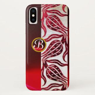 RED DAMASK VELVET TULIPS MONOGRAM Burgundy White iPhone X Case