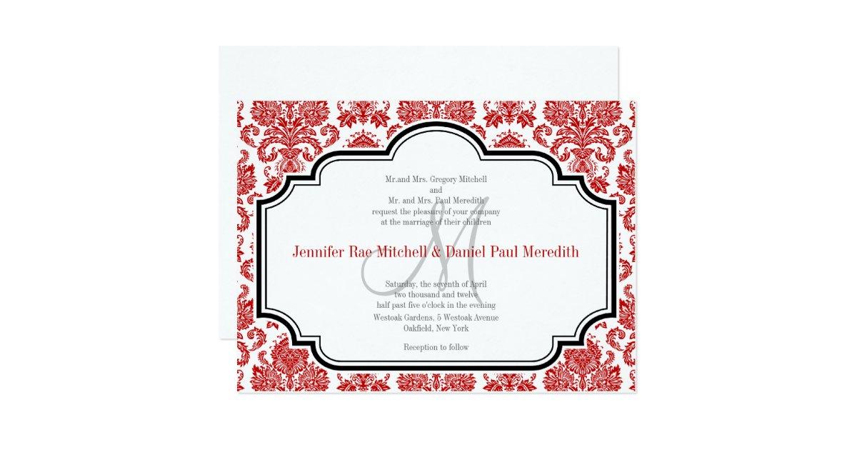 Red Damask Vintage Black White Wedding Invitations