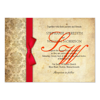 Red Damask Vintage Bow Wedding Invitation