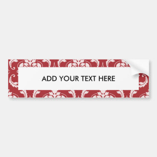 Red Damask Vintage Pattern Car Bumper Sticker