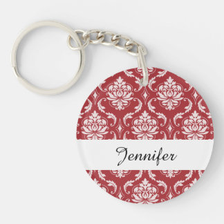 Red Damask Vintage Pattern Double-Sided Round Acrylic Keychain