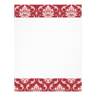 Red Damask Vintage Pattern Personalized Letterhead