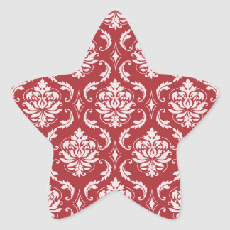 Red Damask Vintage Pattern Star Sticker