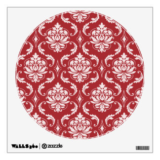 Red Damask Vintage Pattern Wall Skin