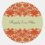 Red Damask Wedding Classic Round Sticker