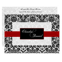 red damask wedding invitation