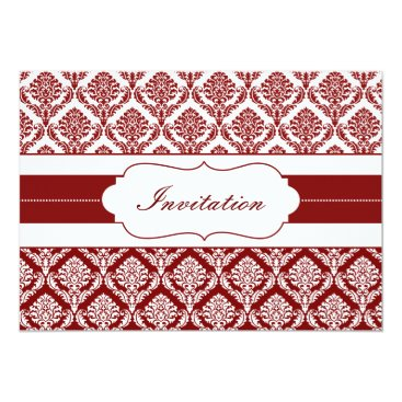 red damask  wedding invites
