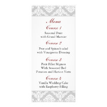 red damask Wedding menu