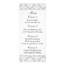 red damask Wedding menu