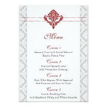 red damask wedding menu card