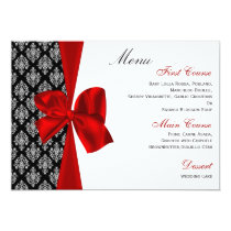 red damask  wedding menu card