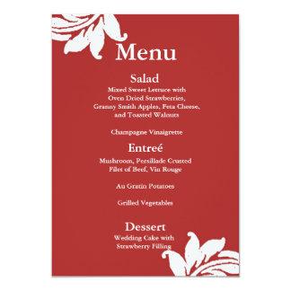 "Red Damask Wedding Menu 5"" X 7"" Invitation Card"